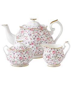 3 Piece Rose Confetti Vintage Tea Set, Royal Albert