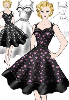 Retro Stars Dress by Amber Middaugh #Rockabilly #1950 #Vintage
