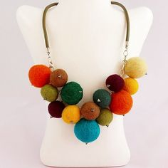 SALE Felt Necklace Felted Jewelry, Felted Ball Necklace, Gift for Woman, Gift for Her, Christmas Jewelry, Gift for Mother, Jewelry for Gift by modotikon on Etsy