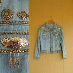 acid wash denim jacket with tribal stud detail . jean coat . navajo native american southwest   buy it at www.nesteggvintage.etsy.com