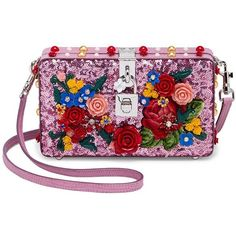 Dolce & Gabbana Floral-Embellished Sequined Shoulder Bag (63,890 MXN) ❤ liked on Polyvore featuring bags, handbags, shoulder bags, genuine leather shoulder bag, man leather shoulder bag, man bag, shoulder hand bags and hand bags