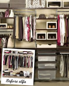 container store closet...if only I had bigger closets!  @Emily Schoenfeld Barlean and @Rachel Woolery what do you think the dimensions of this closet are?
