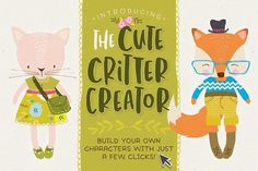 Ad: The Cute Critter Creator by Lisa Glanz on Required software Adobe Illustrator OR Adobe Photoshop --- Create super Cute Characters in seconds! Introducing The Cute Critter Kristina Webb, Pencil Illustration, Graphic Illustration, Art Illustrations, Watercolor Illustration, Clipart, Superhero Cape Pattern, My Drawings, Pencil Drawings