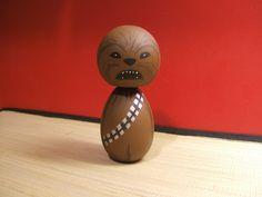 Kokeshi doll Chewbacca inspired custom by temple7e via Etsy & Atsushi Tsuyuguchi