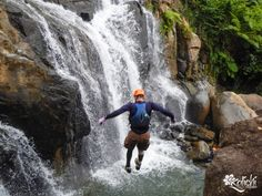 A 40 ft jump off a waterfall...