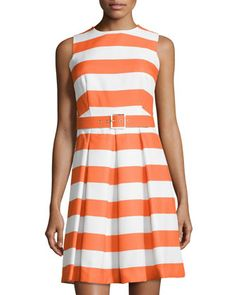 Fit-and-Flare Dress, Nectarine/White by Chetta B at Neiman Marcus Last Call.