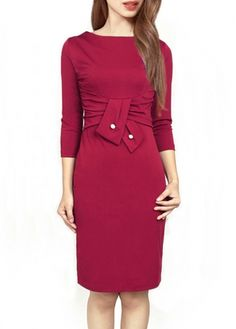 Elegant Button Decoration Wine Red Dress for Work