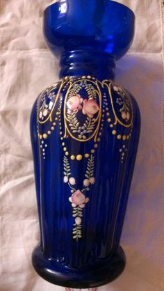 Bristol blue glass vase
