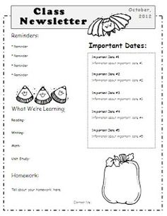 Fall Newsletter Template from the Organize October Now! series ...