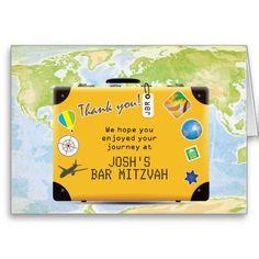 Suitcase World Travel Themed Bar Bat Mitzvah Cards
