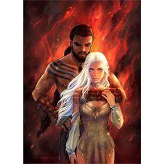 "623 Likes, 5 Comments - Game of Thrones (@thronesdragons) on Instagram: ""Khal \ Daenerys by AzumiLee - #GameOfThrones #GoT #Daenerys #Khaleesi #JonSnow #GotArt…"""
