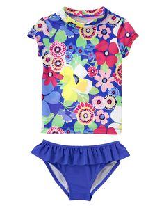 Gymboree Girl Ocean Blue Floral Rash Guard Set
