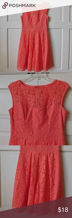 "London Times Pink Sleeveless Lace Dress Size 8 Condition: Excellent Used Condition; No stains or snags; please see pictures  Color: Pink  Size: 8  Measurements laying flat (approximate):  Chest 17""  Waist 15""  Total Length 36.5""  Made in Vietnam  Thank you for looking! Please ask all questions before buying.  Please view the pictures as they are a large part of this description!  All things come from a smoke-free home. London Times Dresses Mini"