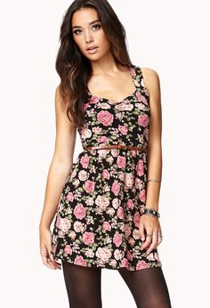 Fit & Flare Floral Dress w/ Belt | FOREVER21 Roses are red, violets are blue, this #Fit dress will look great on you! #Floral