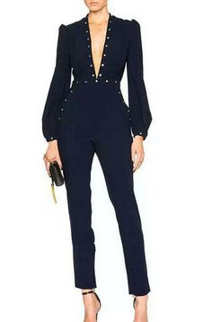 BQUEEN Beaded Solid Color Rivet Jumpsuit