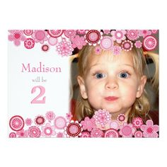 419 best 2nd birthday party invitations images on pinterest 2nd 2nd birthday pink party number photo invitation filmwisefo
