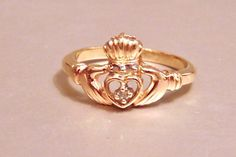 Vintage 10k Claddagh Diamond Ring, Wedding Band, Friendship, Yellow Gold, by EclairJewelry on Etsy