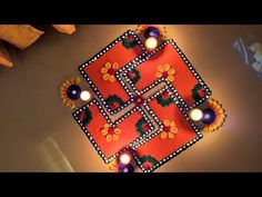 Easy Small Rangoli Design I Colorful Swastik Rangoli For TulsiVivah Rangoli Designs Simple Diwali, Indian Rangoli Designs, Rangoli Designs Latest, Rangoli Designs Flower, Free Hand Rangoli Design, Rangoli Border Designs, Small Rangoli Design, Rangoli Patterns, Rangoli Ideas