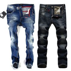 Find More Jeans Information about 2014 Designer Ripped Jeans for Men Famous Brand Cotton Denim Straight Leg Pants Calca Jeans Masculina pantalones vaqueros hombre,High Quality jeans online,China jean jacket Suppliers, Cheap jeans for young men from Amazing Excellent on Aliexpress.com