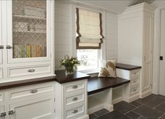 Mudroom - I love the bench with storage next to it for keys, hats, scarves. gloves - even shoes