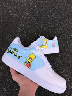 The Simpsons custom on Nike Air Force 1 Low🤟🏻naše for Cute Nike Shoes, Cute Nikes, Nike Air Shoes, Custom Vans Shoes, Custom Painted Shoes, Custom Sneakers, Jordan Shoes Girls, Girls Shoes, Girls Formal Shoes