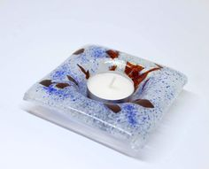 Items similar to Candle holder glass tealight holder candle fused glass gift for girlfriend, bridesmaid gift, gift for women, gift for wife, gift for bride on Etsy Glass Tea Light Holders, Glass Candle Holders, Fused Glass, Tea Lights, My Etsy Shop, Candles, Unique Jewelry, Handmade Gifts, Check