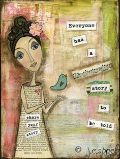Mixed Media Art: Storytelling Girl - print - Whimsical Art, Folk Art,y. Mixed Media Painting, Mixed Media Collage, Mixed Media Canvas, Collage Art, Painting Art, Kunstjournal Inspiration, Art Journal Inspiration, Art Journal Pages, Art Journals