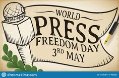 Illustration about Commemorative design to celebrate World Press Freedom Day this May with microphone and ribbon drawings over greeting scroll and olive branch. Illustration of podcast, information, gradient - 154353011 Freedom Day, World Press, Outline, Drawings, Illustration, Poster, Design, Art, Art Background