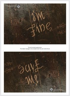Not being dramatic - I just think this is cool. Depression Awareness Ads Reveal Cry For Help When Viewed Upside Down Depression Awareness, Signs Of Depression, Depression Help, Depression Hurts, Cry For Help, Im Fine Help Me, Save Me, Infp, Inspirational Quotes
