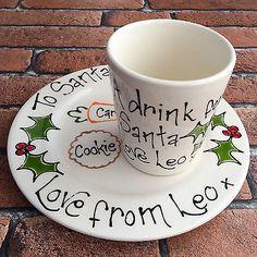 Personalised Handpainted Santa Treat Plate & Beaker Set Xmas Christmas Eve Gift
