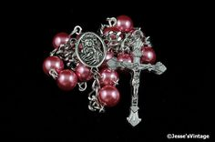 Auto Rosary Pocket Dark Mauve Pearl Glass Bead 1 by JessesVintage [can be customized to a pocket rosary. pretty praying. jh]