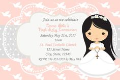 First Holy Communion Girl/Christening - digital-invitations Page Borders Design, First Communion Invitations, Printable Box, Girl Christening, First Holy Communion, Digital Invitations, Catholic, Boy Or Girl, Clip Art