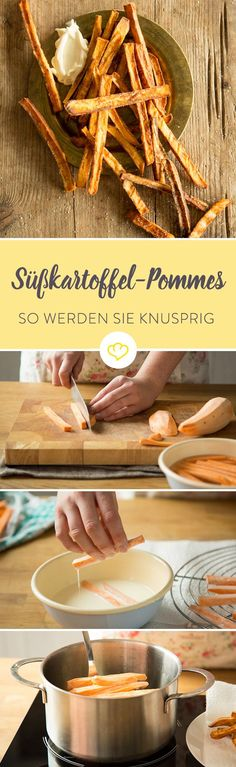 Knusprige Süßkartoffel-Pommes selber machen Sweet potato fries: You probably know that too - because you want to dine your fries joyfully in Mayo, but halfway she already leaves the force and they han Veggie Recipes, Cooking Recipes, Crispy Sweet Potato, Creative Food, Clean Eating Snacks, Soul Food, Food Inspiration, Food Porn, Food And Drink