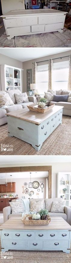 $50 Faux Planked Coffee Table Makeover from a Trunk Coffee Table. LOVE THE KITCHEN GALLERY WALL ON LAST PICTURE