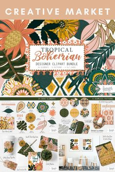 Tropical Boho Digital Design Assets Collection - including Botanical & Decorative Graphic Elements · Colourful Bohemian Seamless Patterns in a Warm Colour Palette · Funky Pre-made Tropical Card Designs | #photoshop #illustrator #digitaldesign #creativeassets #graphicdesign #graphicelements #patterndesign #logodesign #botanicaldesign #tropicaldesign #creativemarket #affiliatelink Warm Colour Palette, Tropical Design, Photoshop Illustrator, Card Designs, Pattern Design, Logo Design, Bohemian, Clip Art, Island