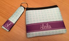 Personalized Coin Purse and Small Keyfob – Monogrammed Coin Purse and Key Chain - Monogrammed Key Ring - Monogrammed Keyfob by MJMonograms on Etsy