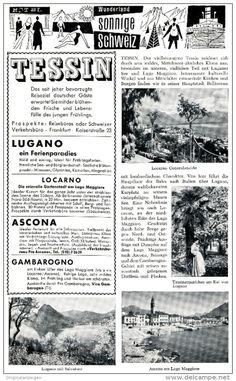 Original-Werbung/ Anzeige 1958 - TESSIN / LUGANO / SCHWEIZ - ca. 120 x 200 mm