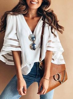 New Summer Fashion V Neck Women Casual Loose Half Sleeve Blouse Tops Blouses&Shirts Trend Fashion, Look Fashion, Womens Fashion, Ladies Fashion, Fall Fashion, Fashion Ideas, Fashion 2018, Cheap Fashion, Affordable Fashion