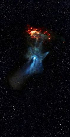 'Hand of God,' this object is called a pulsar wind nebula. It's powered by the leftover, dense core of a star that blew up in a SN explosion. The stellar corpse, called PSR B1509-58, is a pulsar. NASA's NuSTAR spacecraft has imaged the struc-ture in high-energy X-rays for the 1st time: blue:: lower energy X-Ray light previously detected by Chandra: green & red | NASA:
