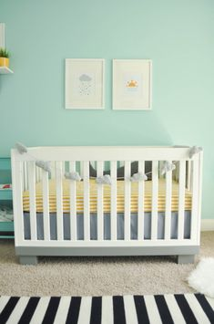 Aqua, grey, black, white and yellow modern and industrial nursery. #Babyletto Modo crib with the bottom painted grey.