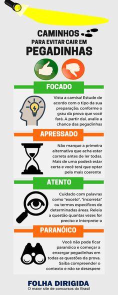 Infográfico: pegadinhas em provas de concurso público, quem nunca foi vítima delas?  #preparação #concursopúblico #carreirapública #dicadeestudos #folhadirigida