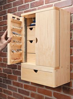 Rotary Tool Cabinet | Woodsmith Plans #WoodworkingIdeas #WoodworkingTools