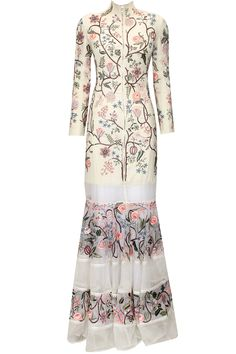 White floral embroidered sheer panelled long flared dress available only at Pernia's Pop-Up Shop.