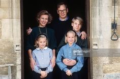 Duke And Duchess Of Gloucester With (left To Right) Lady Rose Windsor, Lady Davina Windsor, The Earl Of Ulster At Home At Barnwell Manor In Northamptonshire