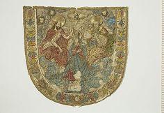 Application, gold, silver and silk embroidery. Marie's coronation. Poland.Historiska museet