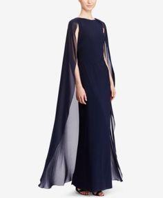 749351ae5ca2a Lauren Ralph Lauren Georgette-Cape Jersey Gown & Reviews - Dresses - Women  - Macy's