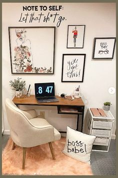 Pretty Home Office Ideas For Women – Glam Chic Home Office Inspiration – Involvery – Office İnspiration Guest Bedroom Home Office, Bedroom Office Combo, Spare Room Office, Guest Room Decor, Bedroom Corner, Small Space Office, Home Office Space, Home Office Design, Home Office Decor