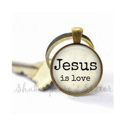 Jesus is Love - Christian Key Chain-  Inspirational Key Chain - Christian Gift by ShakespearesSisters on Etsy