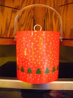 Xmas Ice Bucket- Red, With White Snow,Green Xmas Trees and Lucite Handle