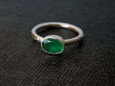 Faceted emerald ring / May birthstone / emerald engagement ring / natural emerald ring / unique emerald ring / emerald jewelry / green ring by EmmyBean on Etsy